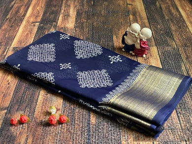 Navy Color Linen With Temple Border Saree