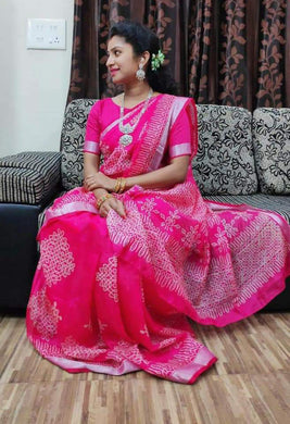 Pink Color Linen With Temple Border Saree