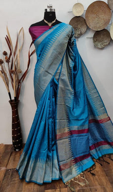 Blue Color Raw Silk Weaving Saree With Temple Saree
