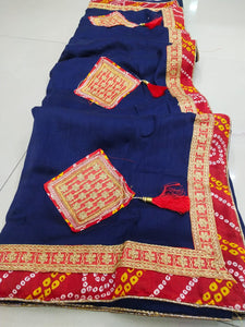 ▶️ Navy Color Silk Saree With Embroidery Work Border