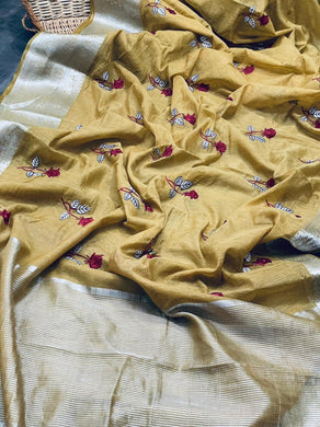 Brown Color Linen Silk With Embroidery And Contrast Border