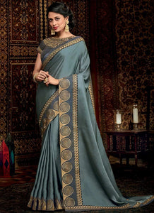 ▶️ Grey Color Silk Embroidery Zari Border Saree