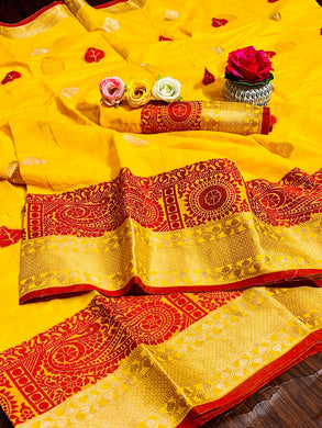 Mustard Color Linen Silk Weaving Contrast Border Saree