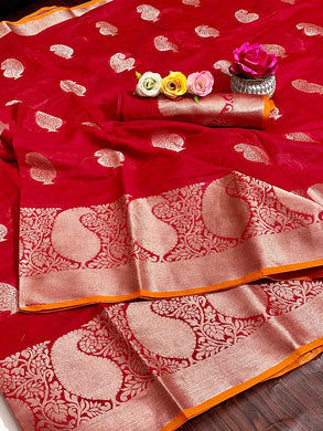 Red Color Linen Silk Weaving Contrast Border Saree
