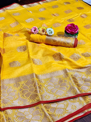 Yellow Color Linen Silk Weaving Contrast Border Saree
