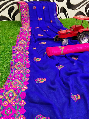Blue Color Chiffon Embroidery Work Border Saree