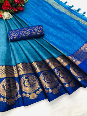 Blue Color Cotton Silk Weaving Contrast Border Saree