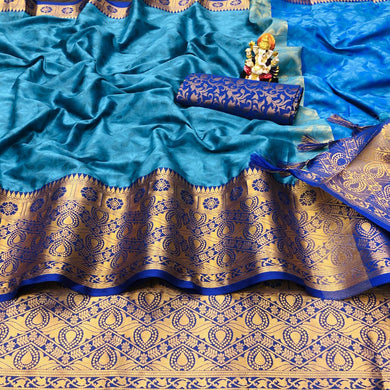 Blue Color Silk Rich Pallu With Contrast Border Saree