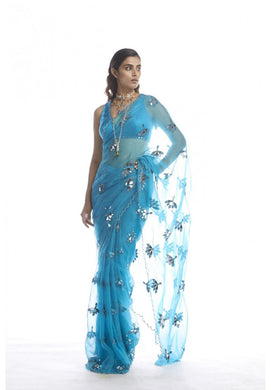 ▶️ Sky Blue Organza Embroidery With Thread Work Saree