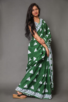 Green Color Cotton Weaving With Contrast Border Saree