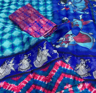 Blue Color Jute Cotton Printed Saree