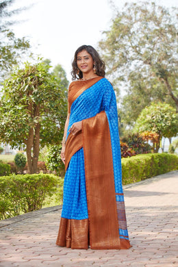 Blue Cotton Silk Printed With Contrast Border Saree