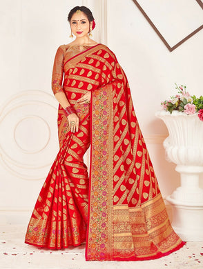 Red Color Soft Patola Silk Saree With Rich Zari Wooven Pallu
