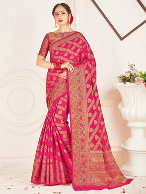 Pink Color Soft Patola Silk Saree With Rich Zari Wooven Pallu