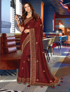 Maroon Color Embrodery Lace Border With Piping And Whole Sarees