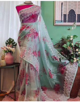 Forogi Color Very Soft Organza High Quality With Digital Floral Prints Saree