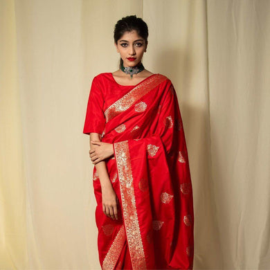 Red Saree Organic Banarasi Sarees For Intimate And Indian Weddings