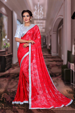 Red Color Terry Jequrd Weaving Heavy Saree With Beautiful Mirror And Redy Mate Silver Border