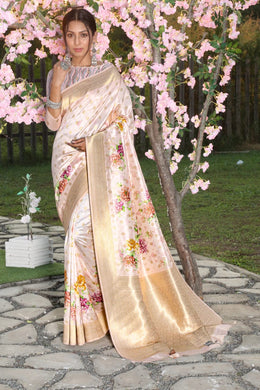Multi Color Banarasi Silk Saree With Digital Printed With Rich Zari Wooven Pallu