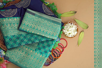 Blue Color Soft Lichi Silk Rich Pallu & Jacquard Pattern Work On All Over The Saree