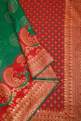 Green Color Soft Lichi Silk Rich Pallu & Jacquard Pattern Work On All Over The Saree