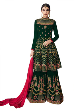 ▶️ Green Color Fox Georgette Semi Stitched Nazmin Dupatta Pakistani Salwar