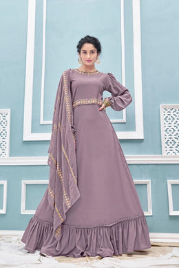 Lavender Color Faux Georgette Embroidery Salwar With Faux Embroidery Dupatta