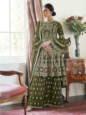 Green Color Net And Embroidry Semi Stitched Salwar