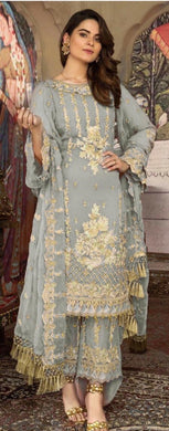 Grey Color Faux Georgette With Embroidery Work Semi Stitched Salwar