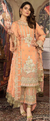 Orange Color Faux Georgette With Embroidery Work Semi Stitched Salwar