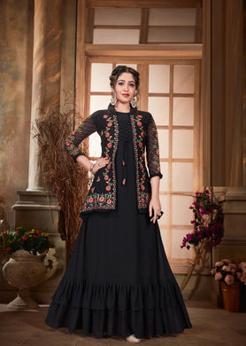 ▶️ Black Color Faux Georgette And Embroidery Work Salwar Suit