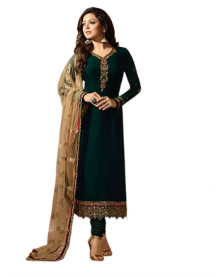 Green Color Georgette And Embroidery With Dupatta Net With Embroidery Work Salwar