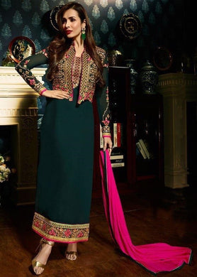 Dark Green Color Designer Faux Georgette Suits With Duppta For Women