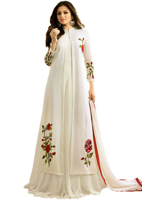 White Color Faux Georgette And Boatcoller Neck With Nazmeen Dupatta Salwar Semi Stitched