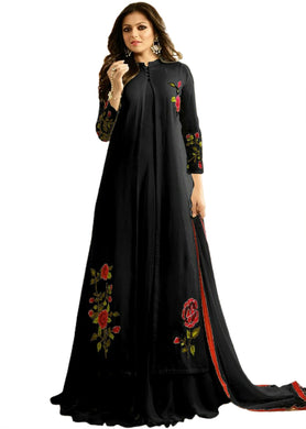 Black Color Faux Georgette And Boatcoller Neck With Nazmeen Dupatta Salwar Semi Stitched