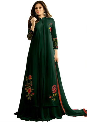 Green Color Faux Georgette And Boatcoller Neck With Nazmeen Dupatta Salwar Semi Stitched