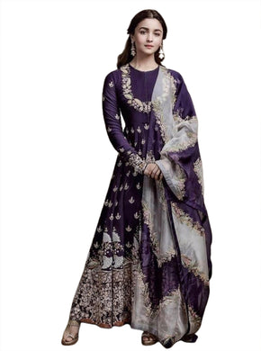 Purple Color Fox Georgette Embrodairy Salwar With Duppta