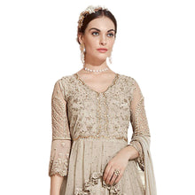 Cream Color Net With Embroidery Work Semi Stitched Salwar