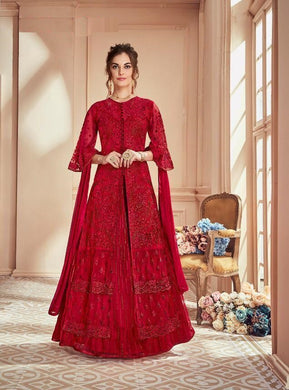 Red Color Valentin Net And Japan Satin With Nazneen Dupatta Salwar Suit