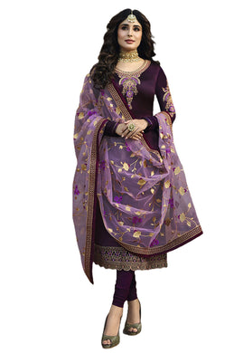 Wine Color Satin Georgette Semi Stitched With Net Embroidry Dupatta Salwar