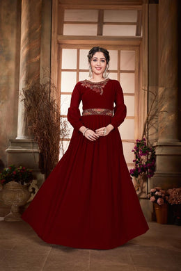 Red Color Faux Georgette Embroidry Salwar Semi Stitched
