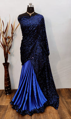 Blue Color Velvet Fabric Half Half Concept Saree
