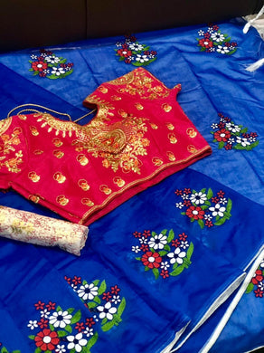 Blue Chanderi Silk Saree With Embroidery Work And 1-stiched Blouse And 1-unstiched Blouse