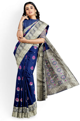 Blue Color Lichi Silk Saree Rich Pallu With Plain Running Blouse