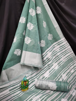 Pine Green Color Pure Linen Silver Zari Looking Perfect In Pallu