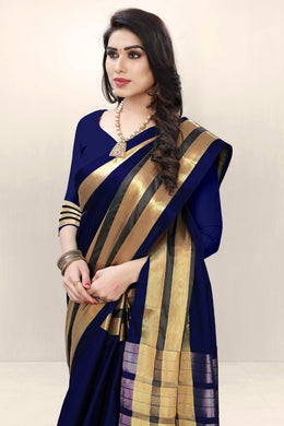 Blue Color Cotton Silk Saree Weaving Zari Blouse