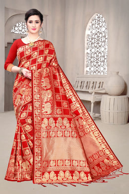 Red Color Banarasi Soft Silk Saree With Jhalar Weaving Pallu