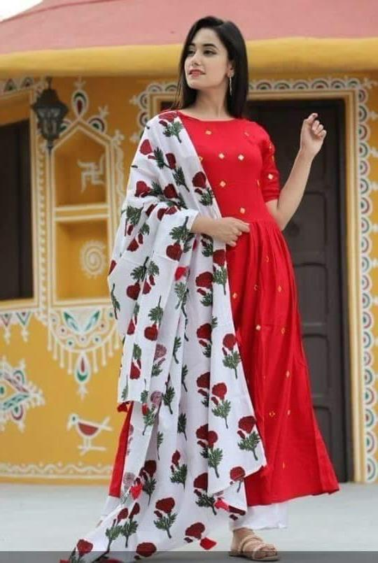 Red Color Russion Silk Print With 4 Side Tassels Salwar