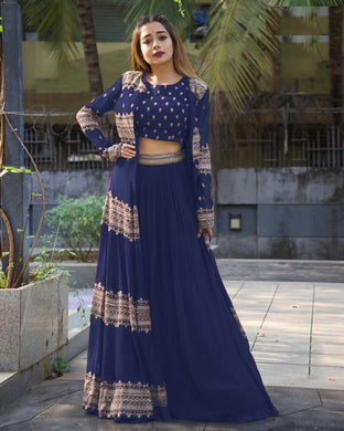 Blue Color Georgette With Silk Inner Embroidered Work Semi-stich Free Size Koti Lehenga