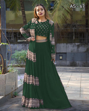 Green Color Georgette With Silk Inner Embroidered Work Semi-stich Free Size Koti Lehenga